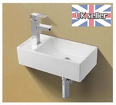 Basin Sink Wall Mounted Left Hand Square Small Mini Cloakroom Bathroom 41x21cm • 37.99£