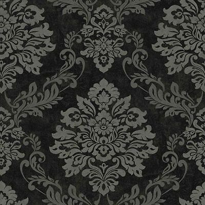 Arthouse Italian Black And Silver Damask Quality Feature Vinyl Wallpaper 290400 • 17.80£