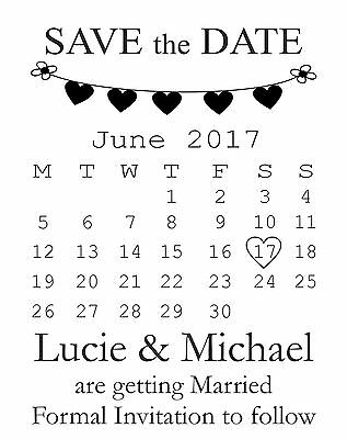 £11.49 • Buy Personalised Calendar Save The Date Invitation To Follow Rubber Stamp (612509)