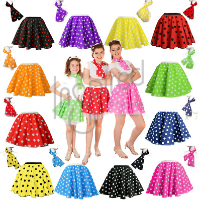 POLKA DOT ROCK N ROLL 50s SKIRT & SCARF FANCY DRESS COSTUME Hen Party ADULTS UK • 9.99£