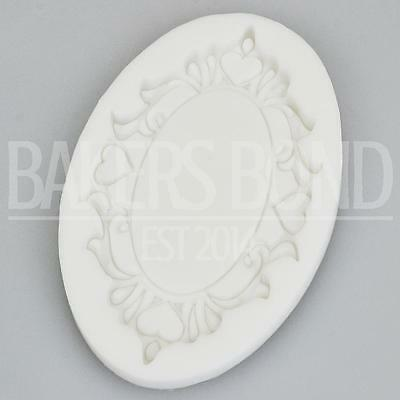 £4.99 • Buy Baroque Vintage Style Ornate Oval Heart Mirror Frame Silicone Mould Fondant