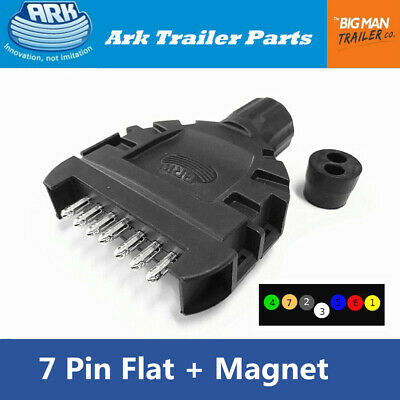 AU17.68 • Buy ARK Trailer 7 Pin Flat Plug Ezi-connect Tool-less Splicing With Magnet FPPT7 UB