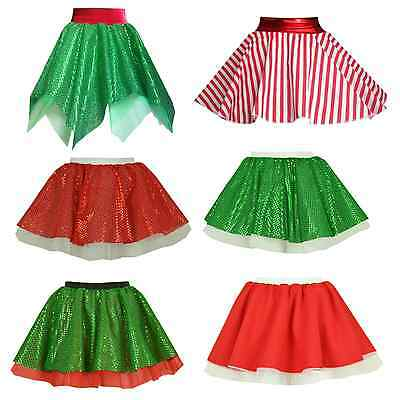 GIRLS Christmas SKIRT Tree ELF Decoration Santa Claus Dance Wear/ Fancy Dress UK • 8.99£
