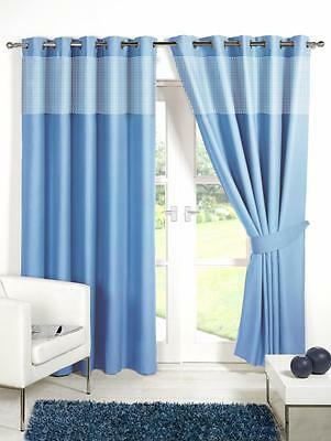 Blue 46'' X 54'' Kids Gingham Blackout Eyelet / Ring Top Curtains With Tie Backs • 15.95£