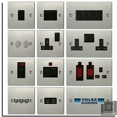 Volex Flat Brushed Stainless Steel Light Switches And Electrical Sockets Black • 9.99£