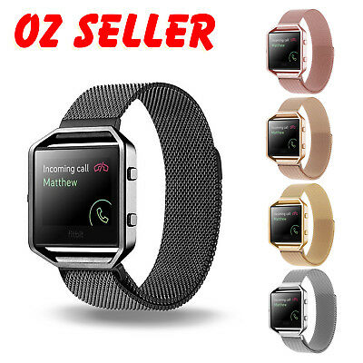 AU16.95 • Buy Milanese Magnetic Wrist Band Bracelet Strap + Metal Frame For Fitbit Blaze Watch