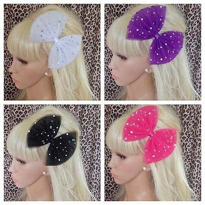 £3.50 • Buy BIG OVERSIZED SPARKLE SEQUIN TULLE BOW HAIR CLIP GRIP 80s STYLE RETRO PARTY ZOOM