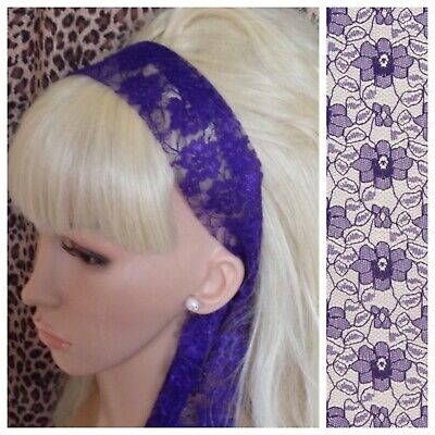 £2.99 • Buy PURPLE FLORAL LACE FABRIC 50s VINTAGE 80s RETRO HEADBAND HAIR BAND SELF TIE BOW