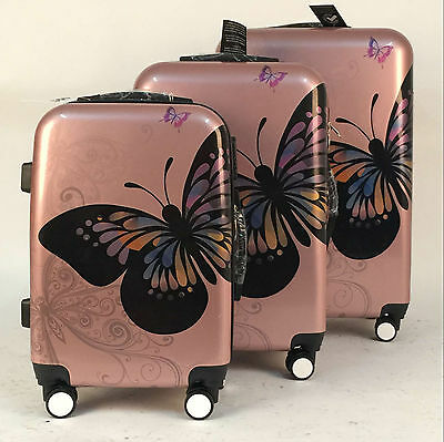 Hard Shell 4 Wheel Suitcase PC Luggage Trolley Case Cabin Hand Butterfly - Gold • 25.95£