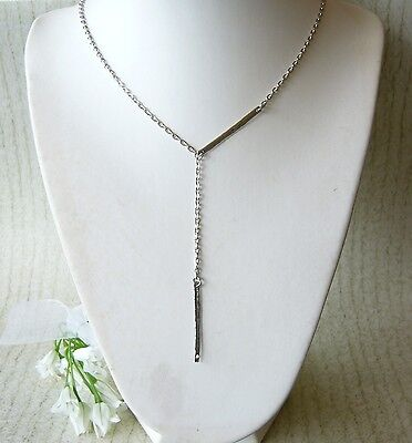 AU9.95 • Buy Silver Plated Vertical Plate Bar Tag Y Lariat Pendant Necklace Layered Layering