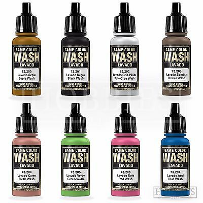 Vallejo Game Colour Wash Model Washes Paints Fantasy Airbrush Colours Spray 17ml • 3.39£