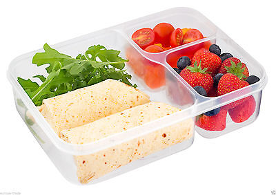 Kitchen Airtight 3 Compartment Section Plastic Food Storage Container Lunch Box • 6.99£
