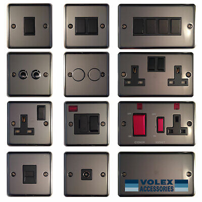 £8.49 • Buy Volex Polished Black Nickel Light Switches And Electrical Sockets Black Insert