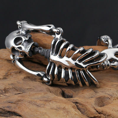 Men's Stainless Steel Bracelet Biker Skeleton Skull Chain Bangle Link Silver • 26.01£