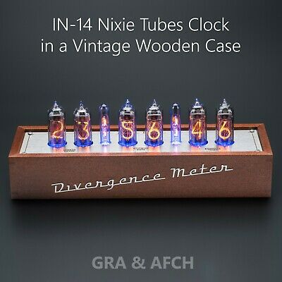 IN-14 Nixie Tubes Clock In Wooden Case 12/24H SlotMachine FREE SHIPPING 3-5 Days • 217.04£