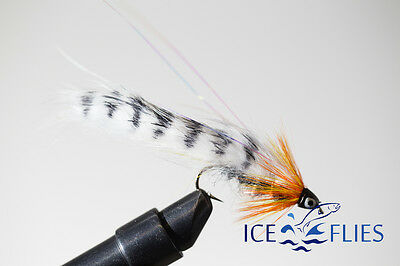 ICE FLIES. Streamer Fly, Black Ghost Zonker Zebra. Size 2, - 10 (3-pack)  • 3.85£