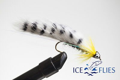 ICE FLIES. Streamer Fly, Black Ghost Zebra Sunburst. Size 2, - 10 (3-pack)  • 3.85£