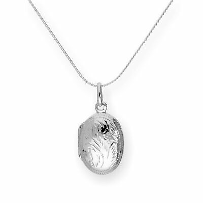 £20 • Buy Real 925 Sterling Silver Oval Engraved Locket On Chain 16 - 22 Inches