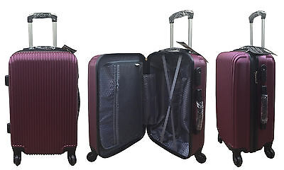20  24  28  Hard Shell Suitcase Set 4 Wheel Luggage Spinner Lightweight - MAROON • 29.95£