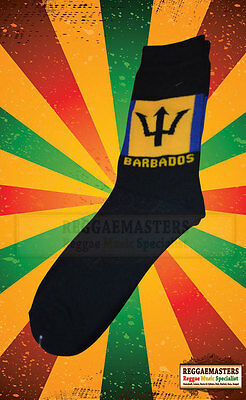 Barbados Flag Blue Yellow Black Knitted Socks Roots & Culture Rasta (13) • 5.99£