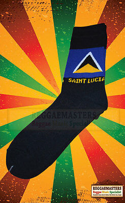 Saint Lucia Flag Black Knitted Socks Top Quality Roots Culture Rasta Reggae (9) • 4.50£