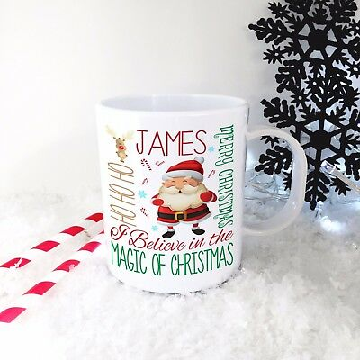 Personalised Santa Plastic Mug Children's Christmas Gift Juice Cup Any Name • 10.99£