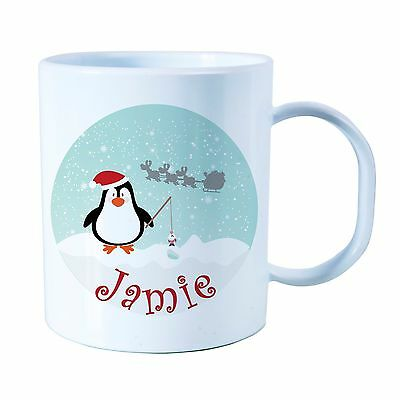 Personalised Penguin Plastic Mug CHildren's Christmas Gift Juice Cup Any Name • 10.99£