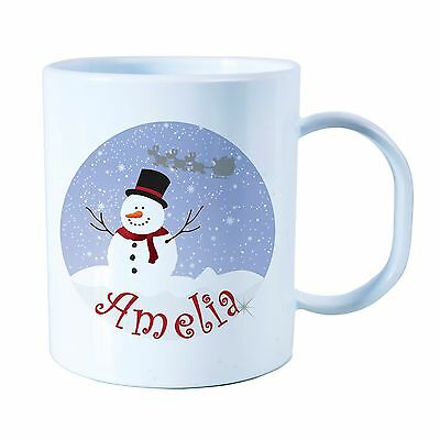 Personalised Snowman Plastic Mug Children's Christmas Gift Juice Cup Any Name • 10.99£