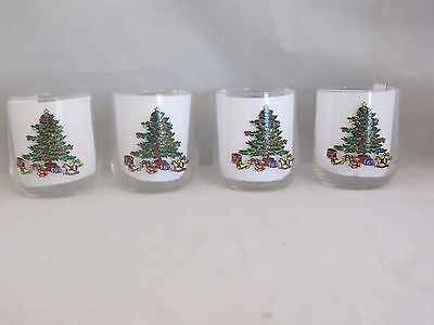$19.95 • Buy 4 Tienshan Holiday Hostess Christmas Tree Old Fashioned/Rocks Glasses Noel EUC