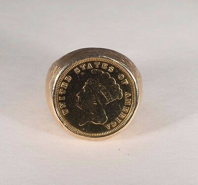$2475 • Buy  14K Yellow Gold Men's Coin Ring With 1882 3 Dollar Gold Piece, Size 10