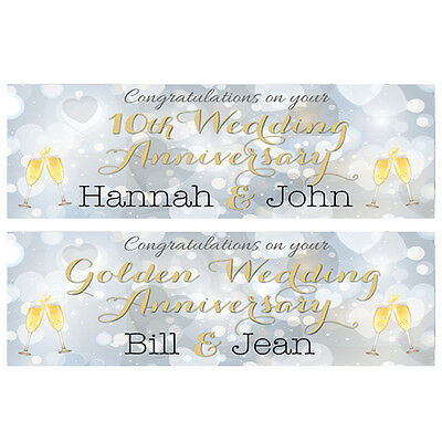 2 Personalised Wedding Anniversary Banners - Any Anniversary - Or Year • 3.99£