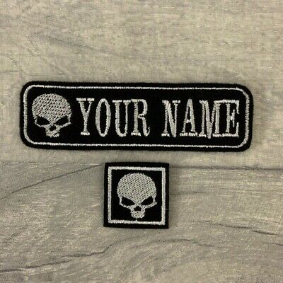 Personalised 1 Line Skull Name Patch Biker Badge Sew On Buy 5 Pay For 4!! • 3.25£