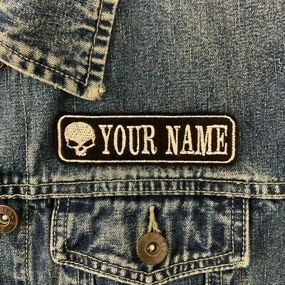 £3.55 • Buy Personalised 1 Line Skull Name Patch Biker Badge Embroidered Patch Felt Cordura