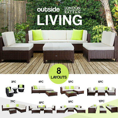 AU619 • Buy LONDON RATTAN Outdoor Furniture Setting 3/4/5/6/7/8/9/12 Wicker Lounge Sofa Set