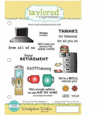 Taylored Expressions Stamp Set ~ WORKPLACE WISHES  Office, Employment  -TEFS163 • 26.99$