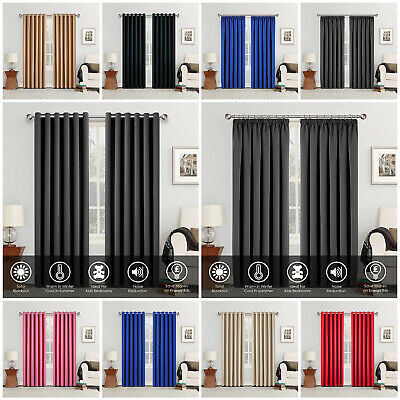 THERMAL BLACKOUT CURTAINS Eyelet / Ring Top OR Pencil Pleat With FREE Tie Backs • 24.64£