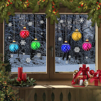£8.99 • Buy Christmas Stained Glass Bauble Snowflakes Window Stickers Clings Reusable CLING