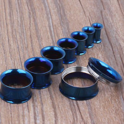 AU5.70 • Buy BLUE Steel Screw Ear Flesh Tunnels Piercing Stretchers Jewellery Flared TU99