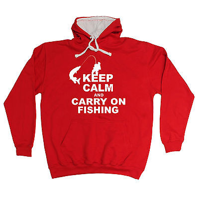 Keep Calm And Carry On Fishing HOODIE Hoody Fish Bait Top Funny Birthday Gift • 14.84£