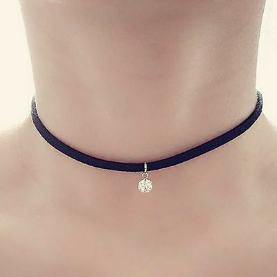 Black Suede Cord Rhinestone Pendant Choker Crystal Charm Necklace Retro Hippy • 1.99£