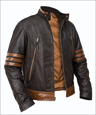 XMen Wolverine Origins Bomber Style Brown Real Leather Jacket Size S M L XL 2XL • 79.99£