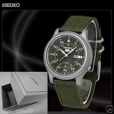 $ CDN158.95 • Buy SEIKO 5+BOX SNK805K2 AUTOMATIC Military WATCH (CAL.7S26C) Green Face Nylon Strap