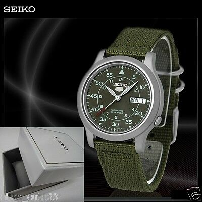 $ CDN154.19 • Buy SEIKO 5+BOX SNK805K2 AUTOMATIC Military WATCH (CAL.7S26C) Green Face Nylon Strap
