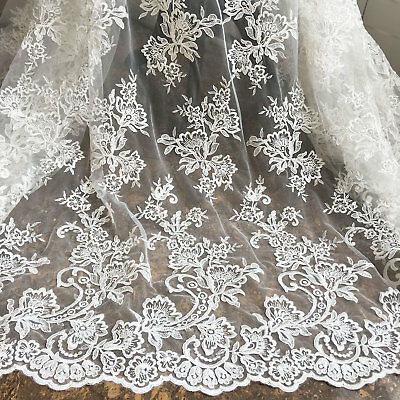 £18.99 • Buy Blossom Bridal Gown DIY Lace Fabric Corded Embroidery Wedding Dress Fabric 1 Y