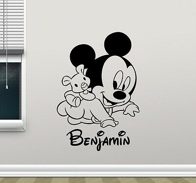 Mickey Mouse Wall Sticker Personalised Any Name Boys Wall Art AFC3 DECAL DECOR • 10.99£
