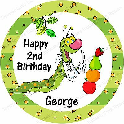 Personalised Fruit Hungry Caterpillar Edible Icing Birthday Party Cake Topper • 4.65£