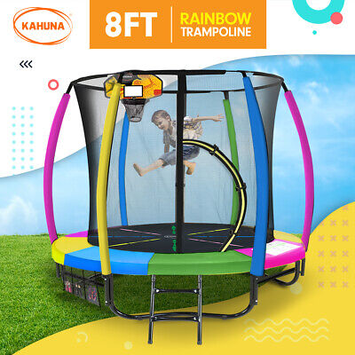 AU559 • Buy New 8ft Kahuna Trampoline Free Safety Net Spring Pad Cover Mat Basketball Set