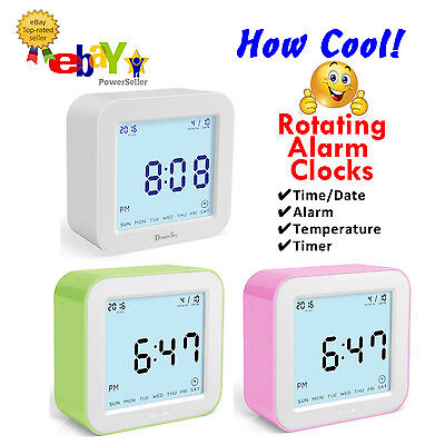 COOL! Rotating Digital Alarm Clock By DreamSky - 4 Different Displays - 3 Colors • 12.64£