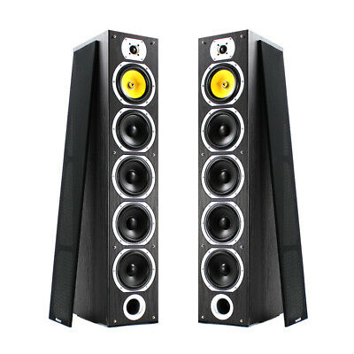 Home Stereo HiFi Tower Tall Boy Floor Standing Speakers 600W Black 4 Woofers • 185£