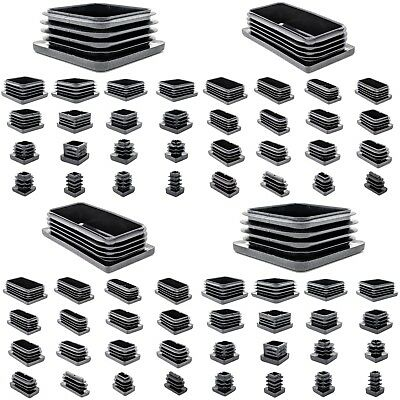 Square & Rectangle Plastic End Caps Blanking Plugs Tube Box Section Insert/BLACK • 8.80£